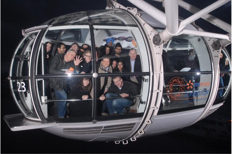 TMDR team on the London Eye after Christmas lunch